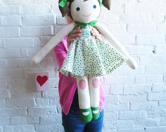 Handmade Doll Aryana, Limited edition, Super Soft Stuffed Doll, designed by Erin Flett