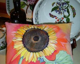 Little Gem Sunflower Pillow 10x12 Hand Painted Charming Cottage Decor Colorful Pink Green Original Art Sunflower Pillow Accent