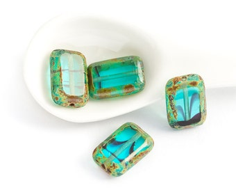 Czech Glass Polished Rectangle Beads, Teal Tortoise Picasso, Table Cut - DESTASH (8/12mm) x 4