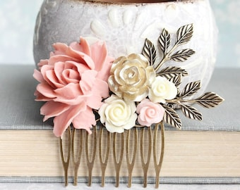 Floral Hair Piece Pink and Gold Wedding Bridal Hair Comb Vintage Style Antique Gold Branch Flowers for Hair Bridesmaids Gift Country Chic