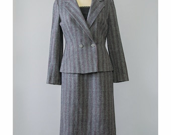 Vintage 70s Skirt Suit • Womens Tweed Wool Suit • Blue Red Grey Striped Suit • Double Breasted Blazer Jacket & Pencil Skirt • 1970s Suit Set