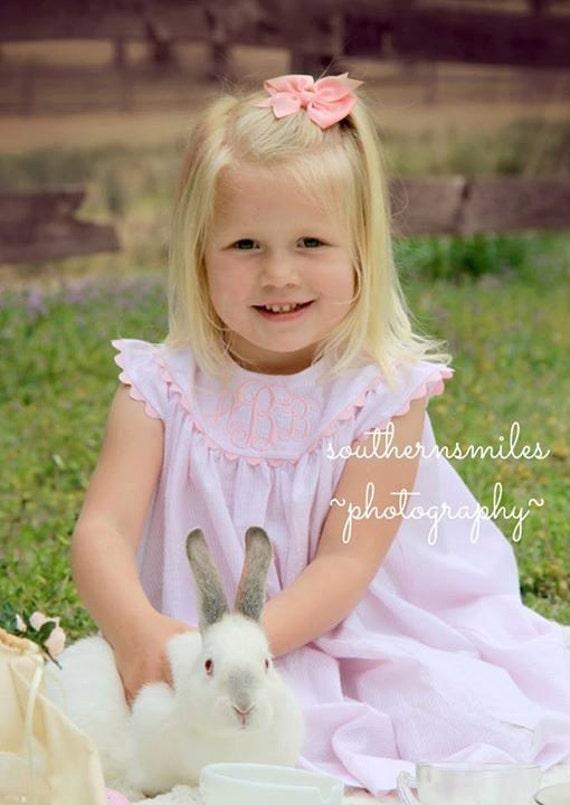 Girls Monogrammed Pink Seersucker Easter Dress with Angel Sleeves