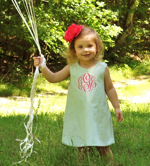 Girls Monogrammed Green Seersucker Dress, Perfect Birthday Party Dress