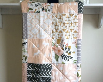 Baby Girl Quilt - Sprigs and Blooms - Blush, Pastel, Pink,Peach, Mustard, White, Grey, Modern Crib Quilt, Moose, Aztec, Floral, Crib Bedding