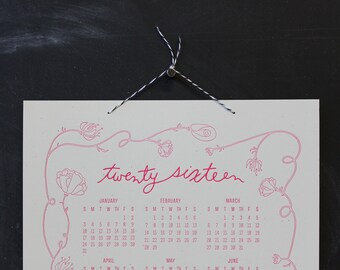 the Bennet 2016, letterpress wall calendar (CREAM & HOT PINK)