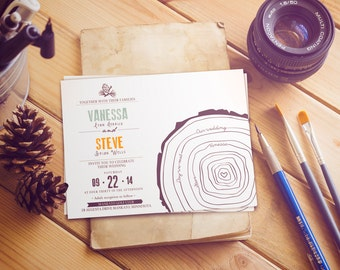 "Timeline wedding invitation  / pine tree invitation / winter wedding / ""Tree rings"""