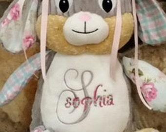 Personalized Birth Announcement, Baby Shower Gift, Stuffed Animal, Rabbit,Monogrammed, Birth Statistics,Nursery
