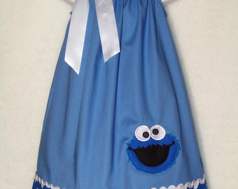 Cookie Monster Pillowcase Dress / Sesame Street / Character / Newborn / White / Infant / Baby / Girl / Toddler / Custom Boutique Clothing