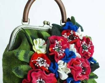 """Boho Eco Handbag Handmade """"Carmelita"""" (felted boho-chic eco-friendly handbags buy)"""