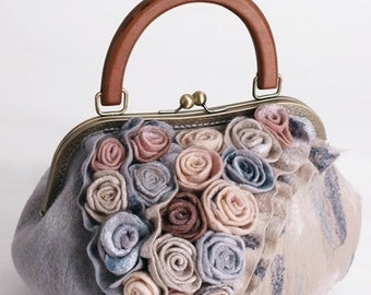 "Handbag ladies ""Gastel gray-2"" (gray felted)"