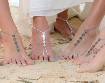 Barefoot Sandals- Foot Jewelry- Anklet- Footless Sandals- Barefoot Wedding- Beach Wedding Sandals- Swarovski Crystals- Bridesmaid Gift