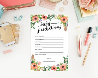 Instant Download - Boho Baby Predictions Cards