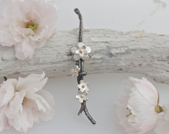 Silver and Gold Cherry Blossom Necklace, floral necklace, cherry blossom jewellery, flower necklace