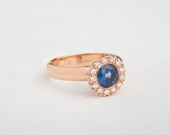 Estate Gold Engagement Ring, Rose Gold Sapphire Ring, Ceylon 1 Carat Sapphire Diamonds Ring, 18K Rose Gold Halo Sapphire Ring