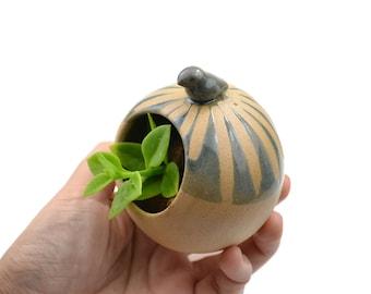 Little round birdie planter - ceramic planter, animal planter - blue - made in Brazil