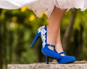Blue Wedding Shoes - Wedding Heels, Bridal Shoes, Heels, Blue Bridal Heels, Bridesmaid Shoes, Mary Jane Heels with Ivory Lace. US Size 7