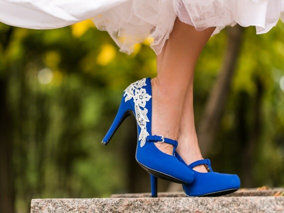Blue Heels with Ivory Lace