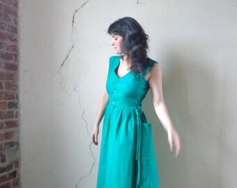side corset bodice summer dress/ side bucket pockets/ full skirt/ sleeveless midi/ NOS 80s deadstock// sm.med