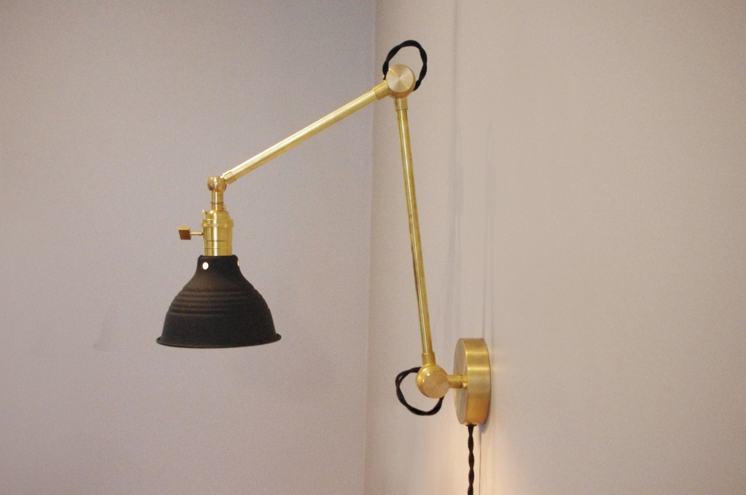 Industrial Articulating Brass Wall Lamp With Black Shop Shade