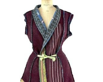kantha quilt vest - reversible kantha vest, size medium to large