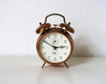SALE Large Vintage German Mechanical Alarm Clock- Copper Chrome with White Face and Luminous Numbers and Hands