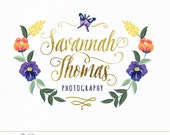 Photography Logo Custom Premade Butterfly Flowers Gold Calligraphy Design for Photographer, Small Business