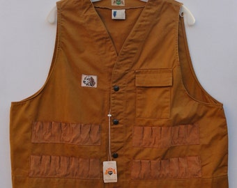 Vintage Hunting Vest NOS, 60s 70s Ideal Products Outdoor Gear XL, Dark Tan Sports Wear Extra Large Unworn Field Vest with Tags Gift for Guy