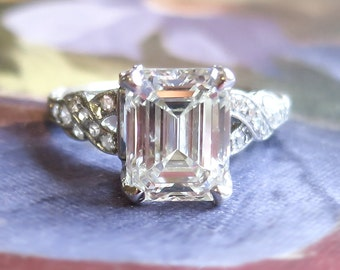 Art Deco 1930's 2.90ct t.w. Emerald Cut Diamond Filigree Engagement Wedding Ring Platinum