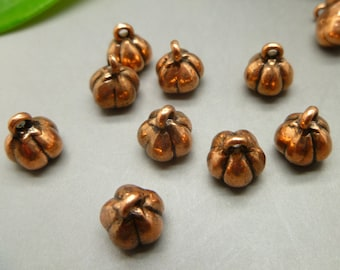 20 pumpkin charms in antique tibetan red copper - jewelry making findings -MC1116