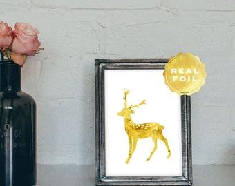 Deer Gold Real Foil - Gold Doe Print - Gold Deer Print - Doe Art Print - Gold Antler Print - Gold Foil Print - Gold Rustic Decor