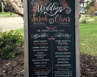 FRAMED 18x36 Chalkboard Wedding Party Ceremony Sign with Metallic Copper Design
