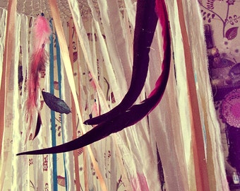 Hanging Play Canopy - Boho Nursery - Fairy Tale Play Tent - Bed Canopy - Playhouse - Dreamcatcher Bed Tent - Gypsy Decor - Feathers Mobile