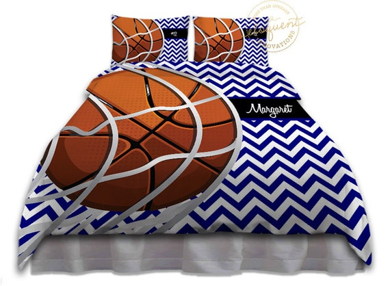 Kids basketball bedding comforter blue chevron basketball - Housse de couette basket ...