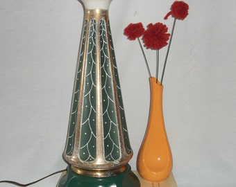 Vintage Rembrandt Torchiere Lamp, Green & Gold, Ceramic, Brass, Mid Century Table Lamp