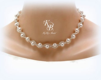 Pearl Bridal Necklace, Twisted Pearl Necklace, Pearl Wedding Necklace, Pearl Necklace, Bridal Jewelry, Wedding Jewelry, Prom Necklace