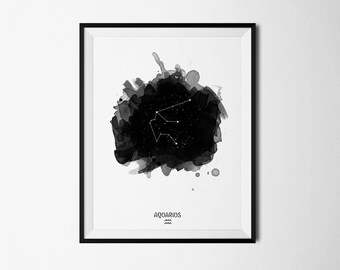 Aquarius Constellation, Zodiac Constellation, Aquarius zodiac, Stars constellation, Astronomy Watercolor, Printable poster, Digital print