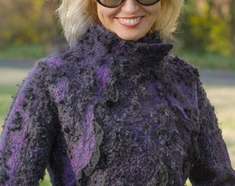 Purple fur coat   Etsy