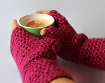 Ladies Gloves,Long Fingerless Gloves, Pink Wristwarmers, Texting Gloves, Loose Fit gloves, Wool Alpaca Mohair, RTS, Armwarmers
