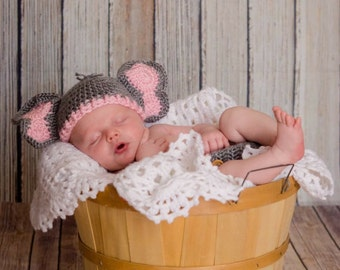 Newborn Elephant Outfit, Elephant Baby Shower, Baby Halloween Costume, Elephant Hat, Newborn Photo Prop, New Mom Gift, Baby Shower Gift