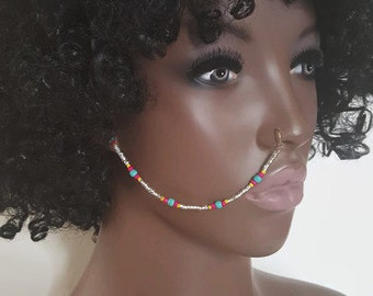 Boho Nose Chain - Nose Chain - Beaded Nose Ring - Ear To Nose Chain - Face Jewelry - Face Chain - Tribal Jewelry - Nose Ring - Boho Jewelry