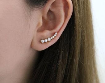 Ear Crawler, Ear Climber, Silver CZ Ear Crawler, Ear Cuff, Pearl Ear Crawler, Ear Sweep, Wedding earrings, Bride earring, Curved ear climber