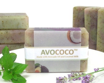 Lavender Mint Soap, Natural Soap, Bar Soap, Cold Process Soap, Coconut Milk Soap, Vegan Soap, Handmade Soap,  Essential Oil Soap