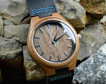 Personalized Wooden Watch - Custom Wedding Gifts - Monogrammed Engagement Gift - Father's Day Mens Watch - Groomsmen Gift - Anniversary Gift