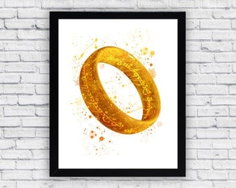 One Ring  Lord Of The Rings Watercolor print, One Ring  Lord Of The Rings  Printable Wall Art, One Ring  Lord Of The Rings  poster