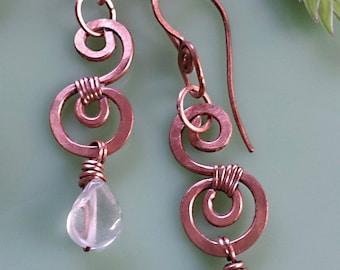 Rose Quartz, Hand Forged Copper Earrings