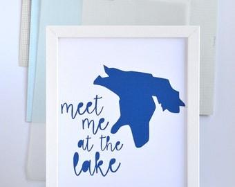 Meet Me At Lake Huron Art, Lake House Art, Beach House Decor, Nautical, Great Lakes, Michigan, Canada