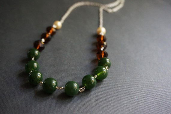 Beaded Necklace,Forest Green Necklace,Brown Necklace,Pearl Necklace,Ivory Necklace,Crystal Necklace,Forest Green Jewelry,Gift For Her,Gift