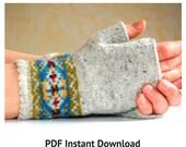 Knitting Pattern Fair Isle Fingerless Gloves PDF Instant Download