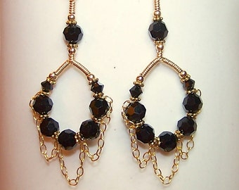 Black Crystal Earrings for Women Gold Chain Hoop Dangle Earings Wire Wrapped Black and Gold Handmade Jewelry Canada Gift Ideas for Her