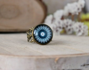 Midnight Blue And White Mandala Ring, Adjustable Ring, Antique Bronze Ring, Glass Dome Ring